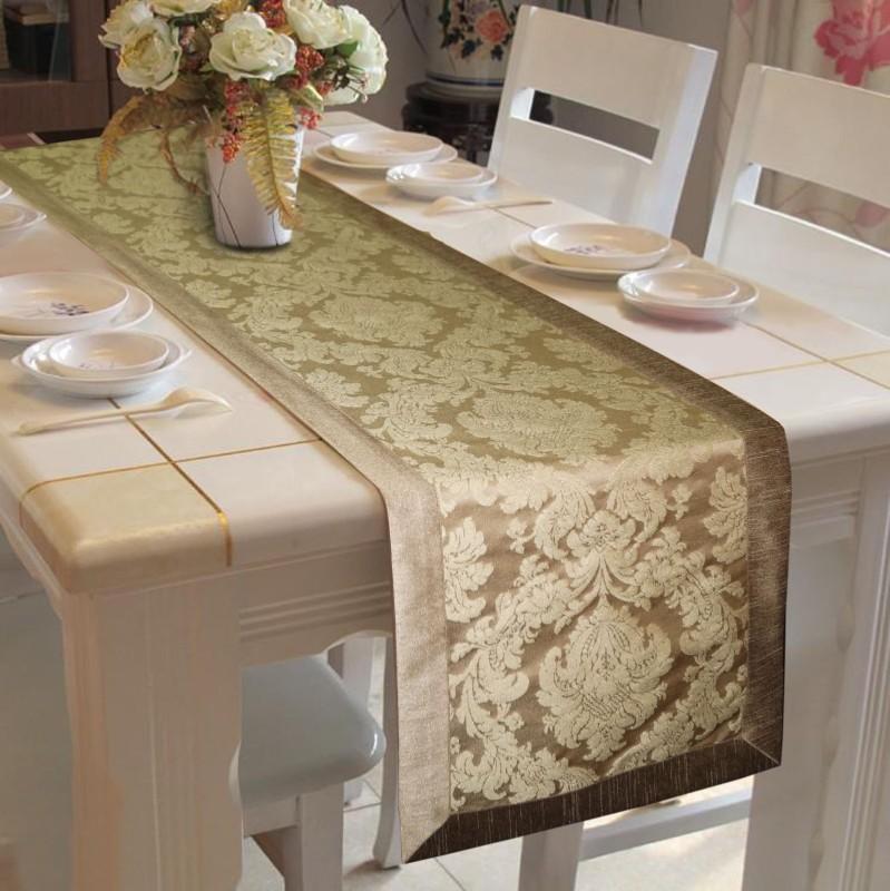 Lushomes Gold 180 cm Table Runner(Polyester)