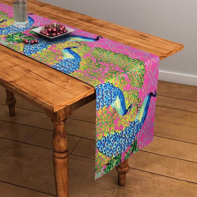 SEJ by Nisha Gupta Pink 120 cm Table Runner(Cotton)