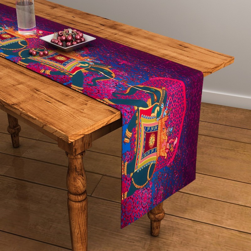 SEJ by Nisha Gupta Purple 120 cm Table Runner(Cotton)