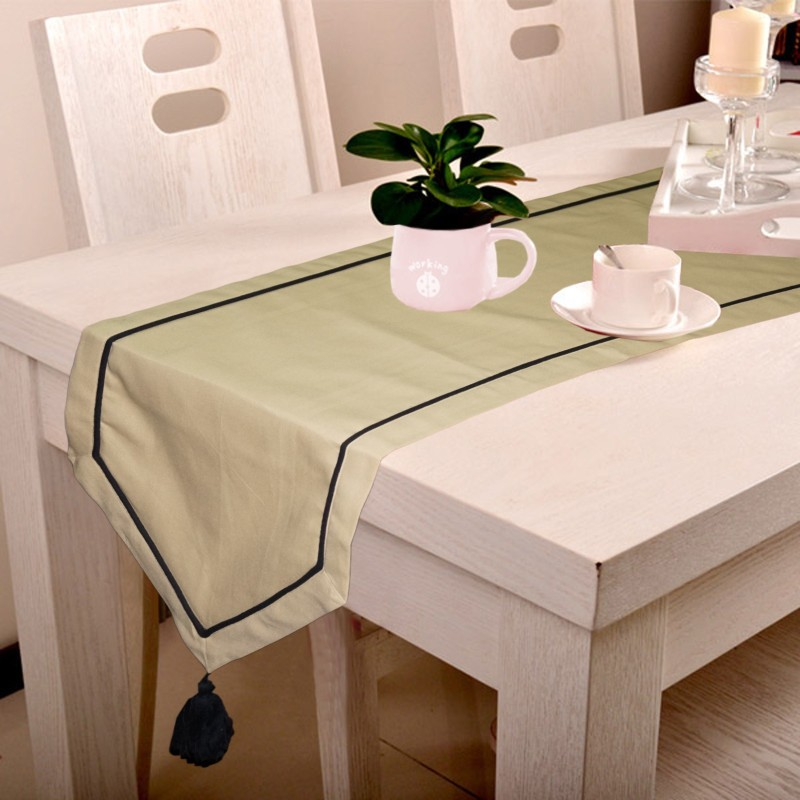 Lushomes Beige 180 cm Table Runner(Cotton)