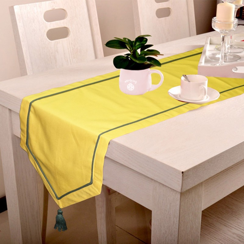 Lushomes Yellow 180 cm Table Runner(Cotton)