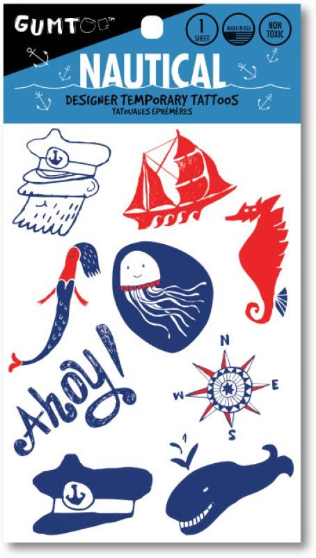 Gumtoo Nautical - Designer Temporary Tattoos(Ship, Anchor, SOS, Mermaid, Ahoy, Aye Capitan)
