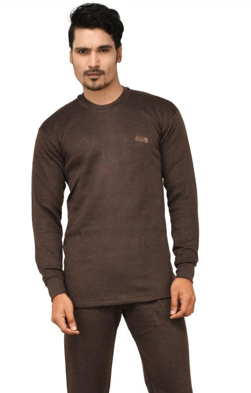 Lux Cottswool Full Sleeve Round Neck Brown Thermal Mens Top