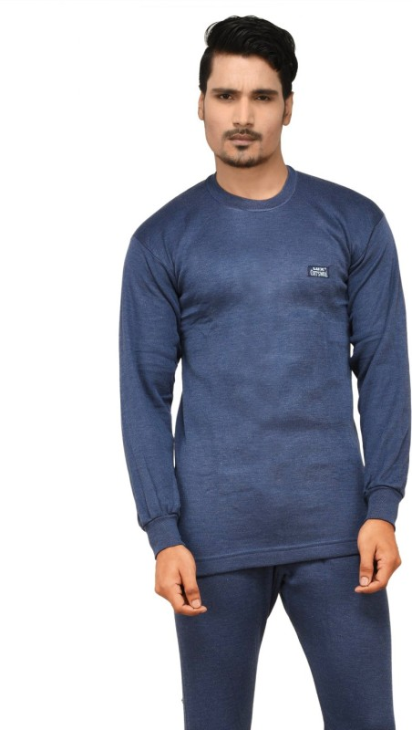 Lux Cottswool Full Sleeve Round Neck Blue Thermal Mens Top