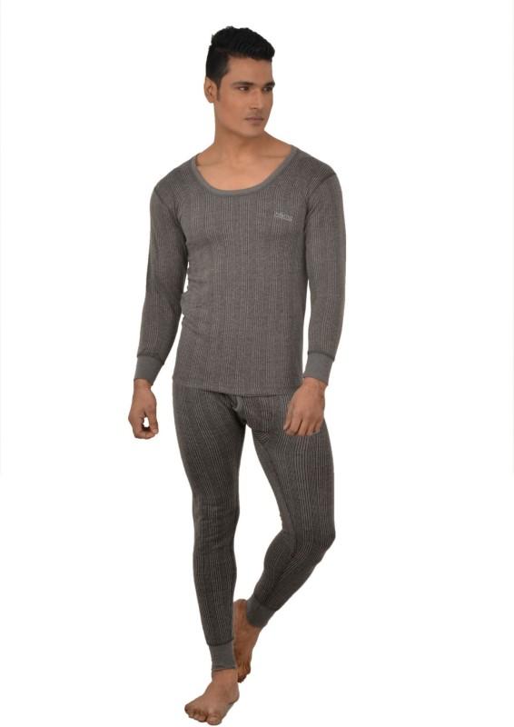Lux Inferno Charcoal Melange Full Sleeves Round Neck Men's Top - Pyjama Set