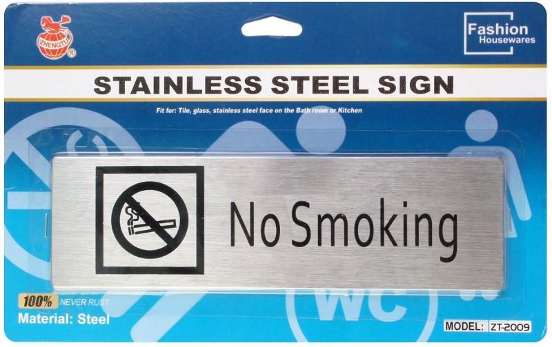 Zhengtu Self Adhesive Stainless Steel No Smoking Metal Signage Board Sign(1)
