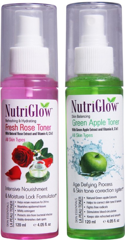 NutriGlow Green Apple Toner and Fresh Rose Toner(Combo of 2)(240 ml)