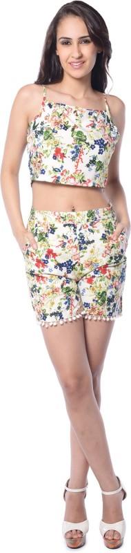 Florrie Fusion Beach Wear Sleeveless, Noodle strap Floral Print Women Multicolor Top