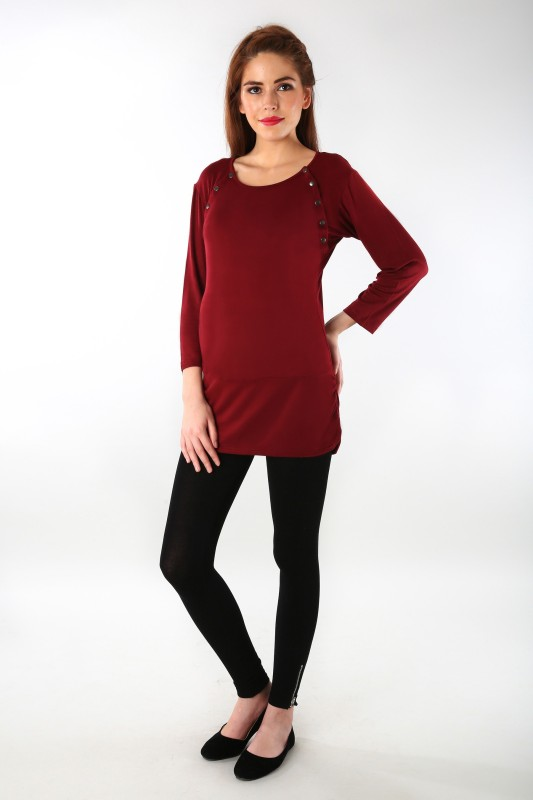 MOMZJOY Casual 3/4 Sleeve Solid Women Maroon Top