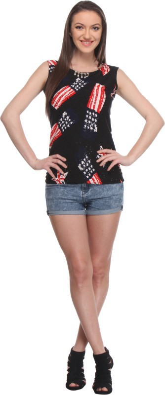 Wearsense Casual Sleeveless Self Design Women Multicolor Top