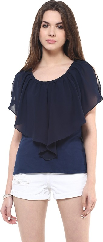 Zimaleto Casual Sleeveless Solid Women Blue Top