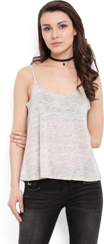 MANGO Casual Sleeveless Solid Women's Grey Top