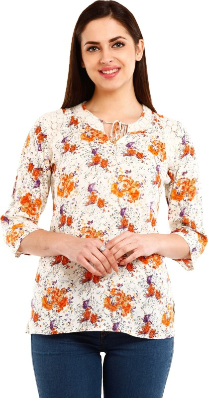 Mustard Casual 3/4th Sleeve Printed Women's Multicolor Top