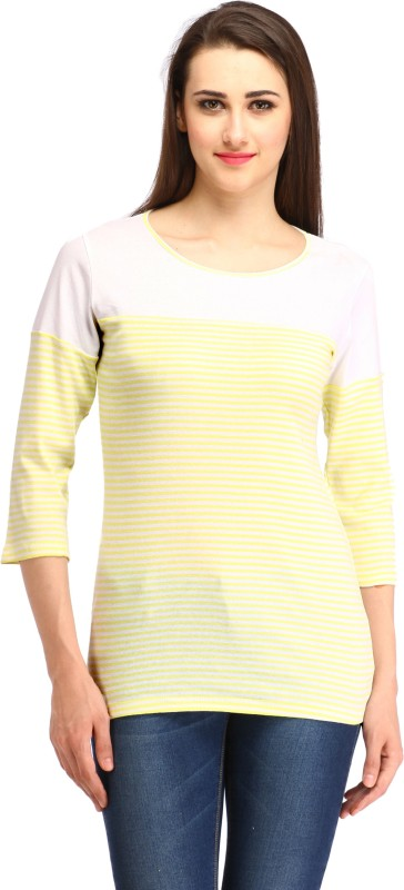 Cottinfab Casual Regular Sleeve Striped Women Yellow Top