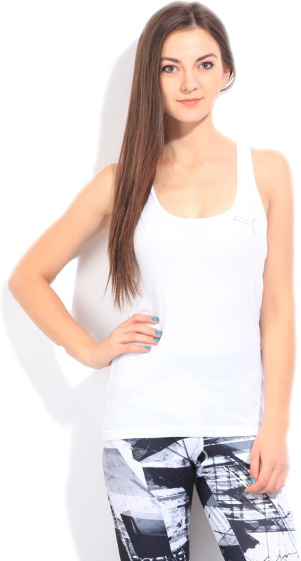 Puma Casual Sleeveless Solid Women White Top