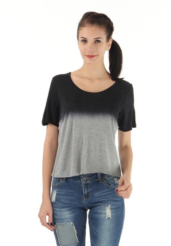Vero Moda Casual Short Sleeve Solid Women's Grey Top