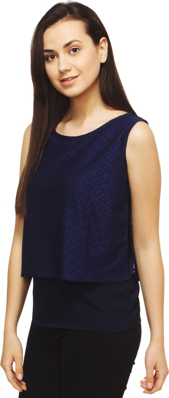 Adyuth Party Sleeveless Self Design Women Blue Top