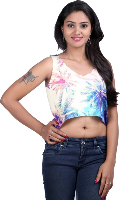 Midnight Casual Sleeveless Printed Women Multicolor Top