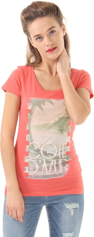 Only Casual Short Sleeve Printed Women Orange Top