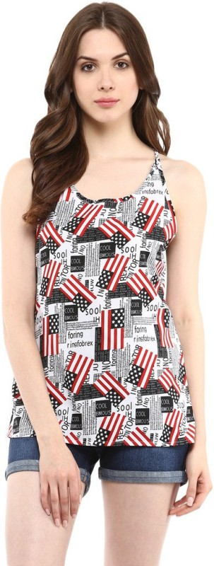 Abiti Bella Casual Sleeveless Printed Women White Top