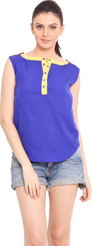Trend Arrest Casual Sleeveless Solid Women Blue Top