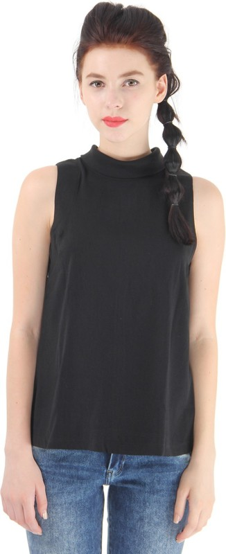 Pepe Jeans Casual Sleeveless Solid Women Black Top