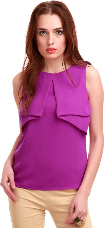 Sassafras Casual Sleeveless Solid Women Purple Top