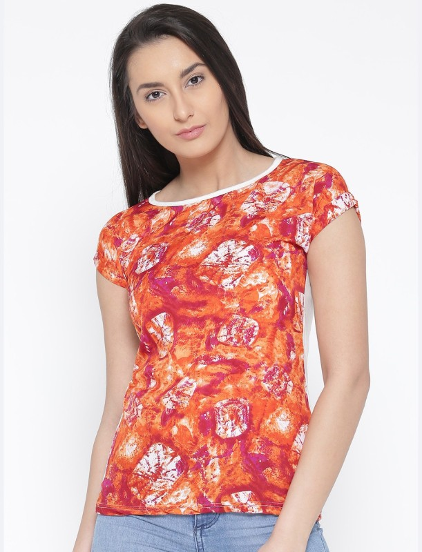 U&F Casual Short Sleeve Graphic Print Women Red, White, Pink, Orange Top
