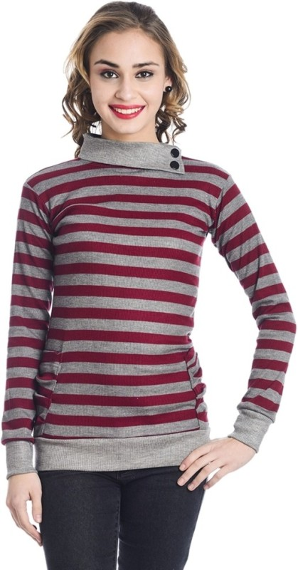 TeeMoods Casual Full Sleeve Striped Women Maroon Top