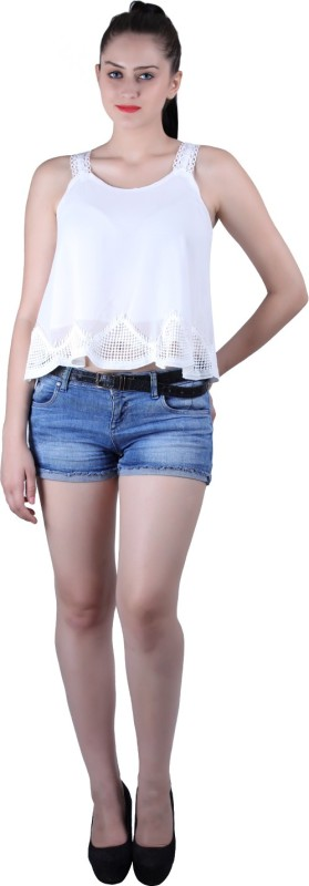 Diamond Doll Party No Sleeve Solid Women White Top