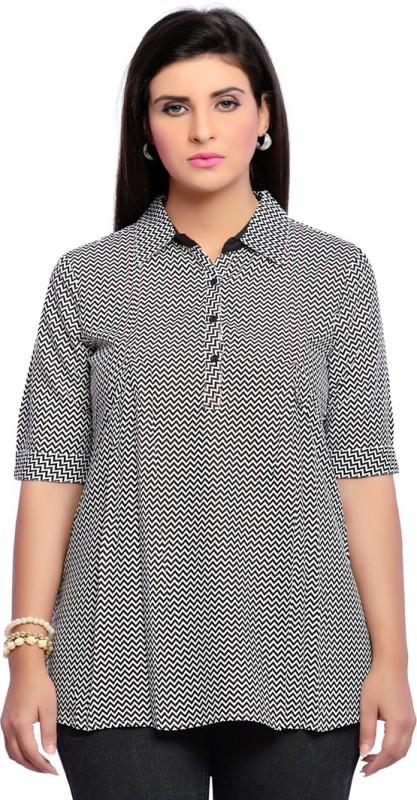 Zola Casual Short Sleeve Printed Women Black Top