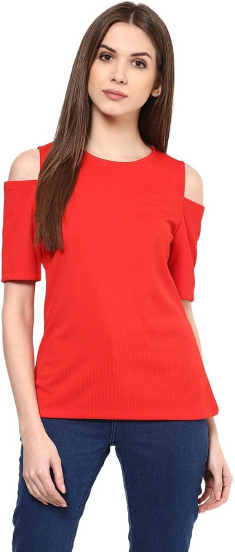 Harpa Casual Short Sleeve Solid Women Red Top