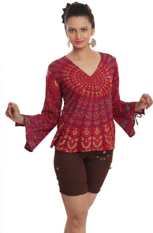 Indi Bargain Casual Full Sleeve Printed Women Maroon Top