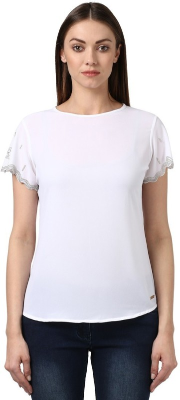 Park Avenue Casual Short Sleeve Solid Women White Top