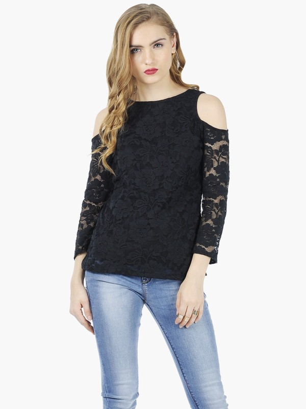 FabAlley Casual 3/4th Sleeve Solid Women's Black Top