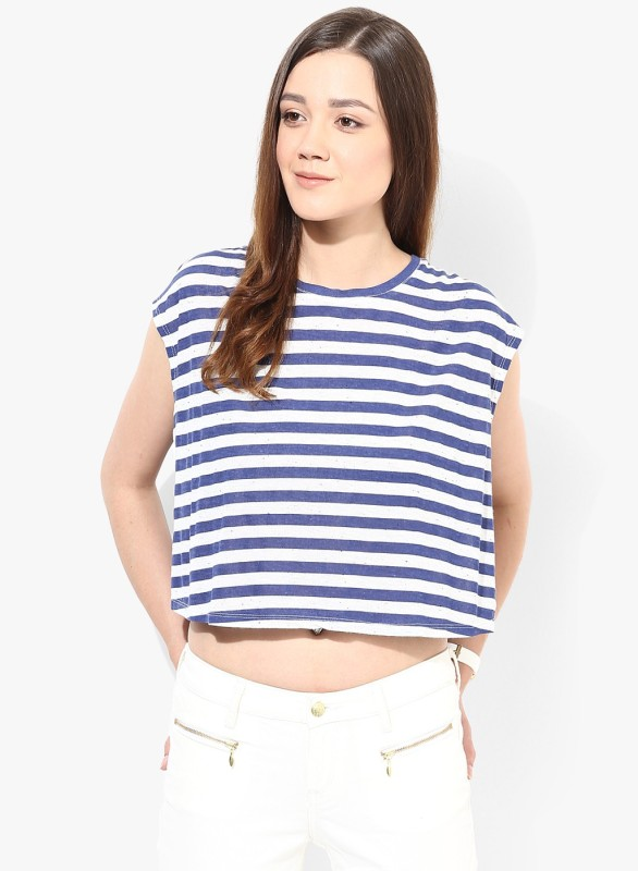 Only Casual Sleeveless Striped Women White, Blue Top