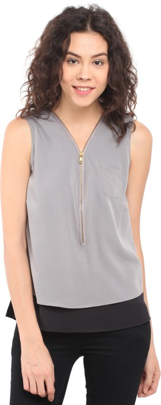 Stilestreet Casual Sleeveless Solid Women Grey, Black Top