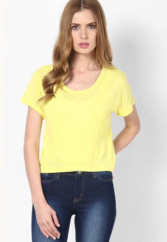 Only Casual Short Sleeve Solid Women Yellow Top