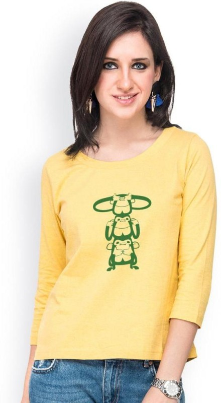 Campus Sutra Casual 3/4 Sleeve Printed Women Yellow Top