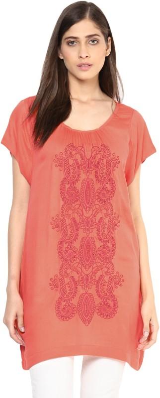 Florablanca Casual Sleeveless Embroidered Women Orange Top