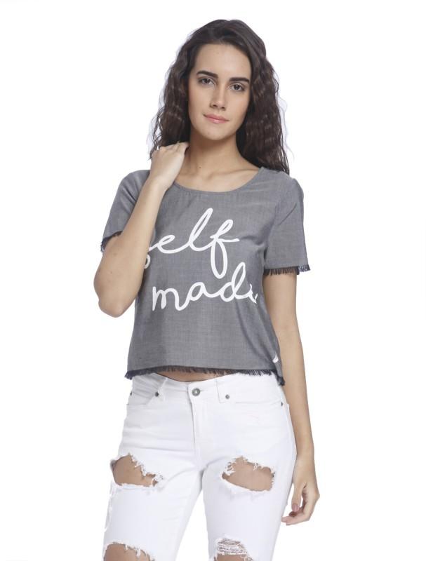 Vero Moda Casual Short Sleeve Graphic Print Women's Grey Top