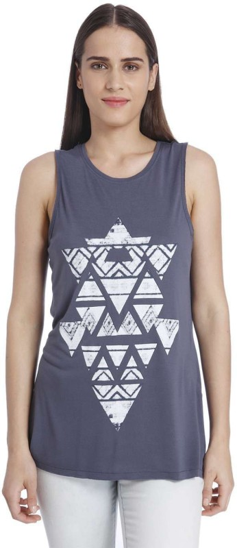 Vero Moda Casual Sleeveless Printed Women Blue Top