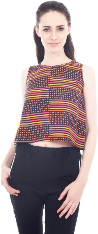 Forever 9teen Casual Sleeveless Printed, Striped Women Multicolor Top