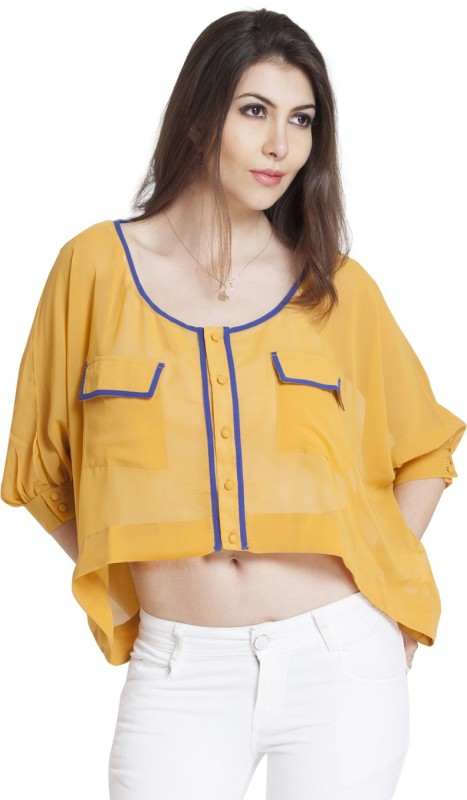 Vero Couture Casual 3/4 Sleeve Solid Women Yellow Top