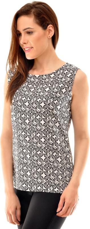 Indiwagon Casual Sleeveless Printed Women's White Top