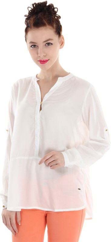 Pepe Jeans Casual Full Sleeve Solid Women White Top