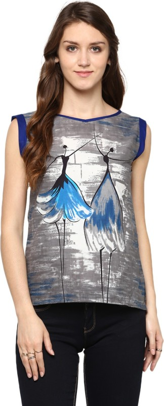 Jaipur Kurti Casual Sleeveless Graphic Print Women Grey Top