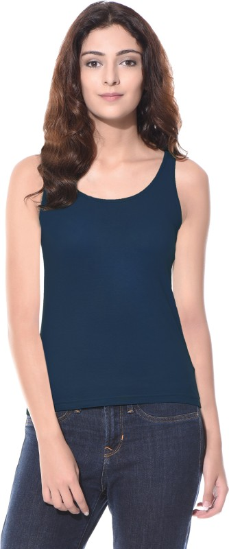 Miss Chase Casual No Sleeve Solid Women Blue Top