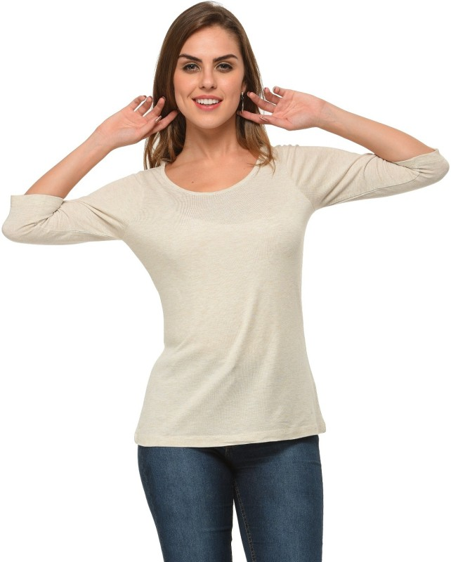 Frenchtrendz Casual 3/4 Sleeve Solid Women Brown Top