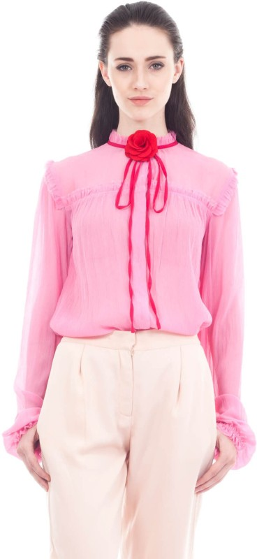 9teen Again Casual Ruffled Sleeve Solid Women Pink Top